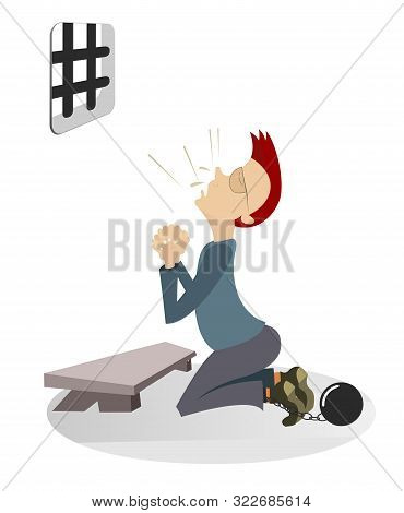 Cartoon Prisoner Prays In The Kneel Illustration. Cartoon Prisoner Behind Bars Prays In The Kneel An