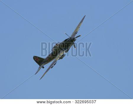 Moscow Russia Zhukovsky Airfield 31 August 2019: Restored Ilyushin Il-2 - Wwii Era Ussr Ground Attac