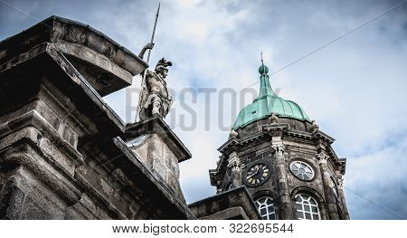 Architectural Detail Of Dublin Castle, Ireland On Winter