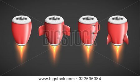 poster of Powerful jet engine turbine as isolated plane part, rocket booster or thruster illustration in cartoon style, product advertisement design element a metaphor of speed and power