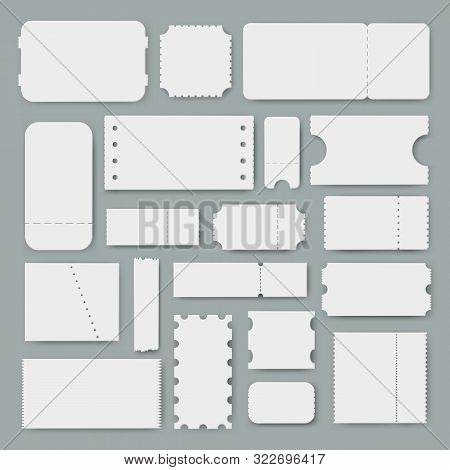 Various Blank Tickets A Vector Set, Empty Mockups For Ticket Designs, Templates Of Vouchers Or Coupo