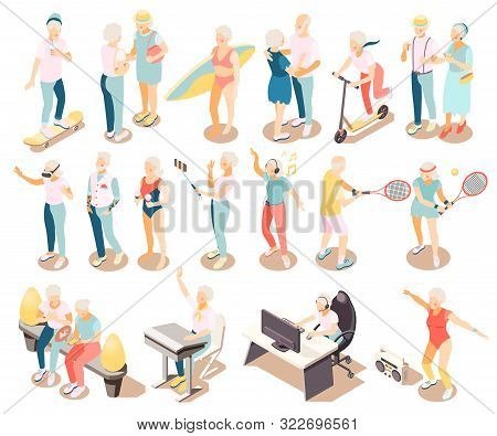 Longevity Isometric Icons Set Of Modern Elderly People Meeting For Communication Dancing Riding On S