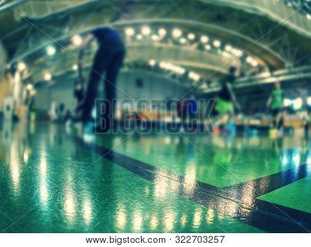 Indoor Sports Hall. Football Futsal Court Or Field, Futsal Floor. Sports Background. Youth Futsal Le