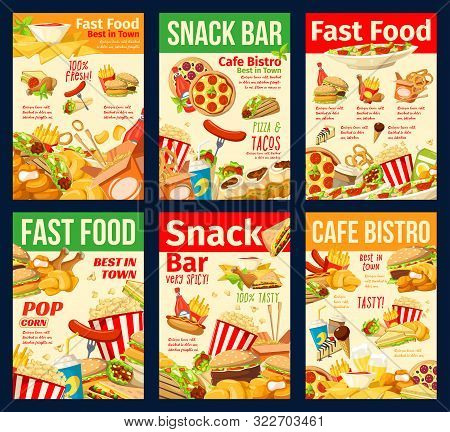 Fast Food Snacks, Restaurant And Bistro Menu. Vector Hot Dogs And Burgers, Mexican Tacos, Nachos And