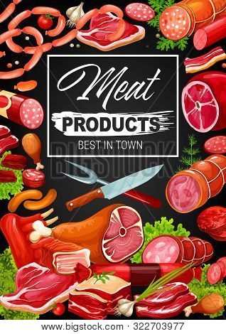 Gourmet Meat And Sausages, Butcher Shop Products And Delicatessen. Vector Butchery Pork, Beef Meat A