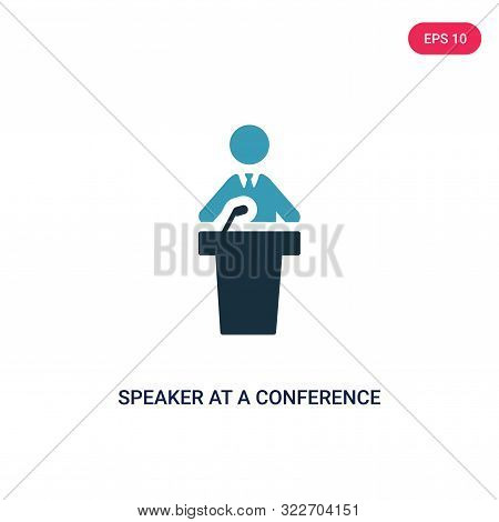 speaker at a conference icon in two color design style.