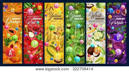 Color Rainbow Diet, Healthy Organic Dietary Food Nutrition. Vector Vegetables, Fruits And Berries, N