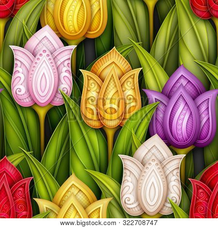 Colored Seamless Pattern With Tulips, Floral Motifs. Endless Texture With Flowers, Leaves And Swirls