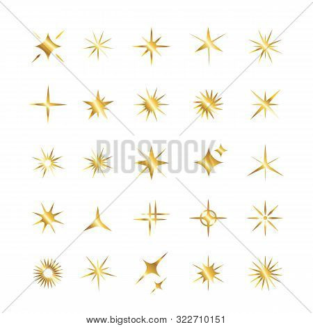 Set Of Golden Star, Sparkle Icons. Collection Of Bright Fireworks, Twinkles, Shiny Flash. Glowing Li