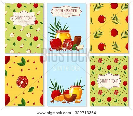 Shana Tova. Set Of New Year Banners With Honey, Shofar, Apple, Pomegranate, Fish, Carrot, Palm. Happ
