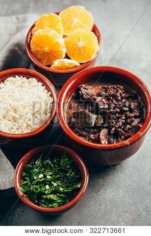 Brazilian Feijoada Food. Typical Dish Of Brazilian Cuisine