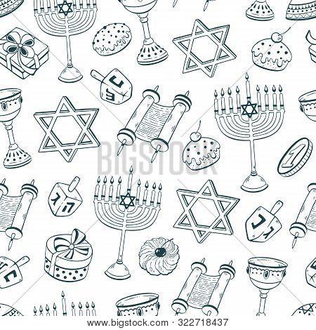 Hanukkah Dreidel, Doughnut, Menorah Hand Drawn Seamless Pattern Vector Illustration . Chanukah Sketc