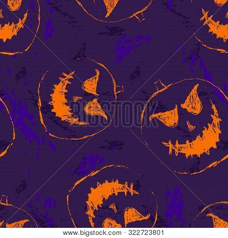 Vector Seamless Halloween Pattern. Abstract Background With Scary Pumpkins, Ghosts, Orange Silhouett