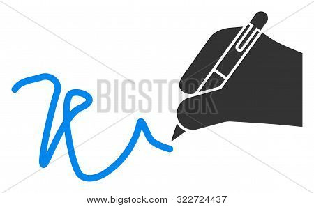 Vector Hand Signature Flat Icon. Vector Pictogram Style Is A Flat Symbol Hand Signature Icon On A Wh