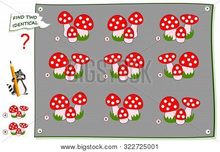 Logical Puzzle Game For Children And Adults. Find Two Identical Images Of Mushrooms. Printable Page