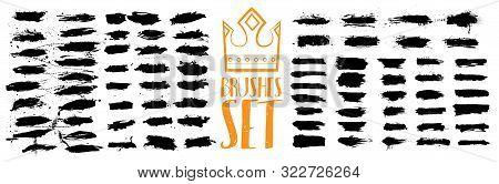 Isolated Ink Splashes Set. Black Inked Splatter Dirt Stain Splatter Spray Splash With Drops Blots Is