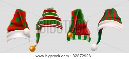 Winter Woolen Elves Hat Christmas Set. Xmas Green And Red Fur Cap Photo Booth Props For Kids. Santa