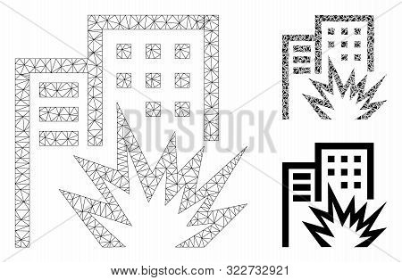Mesh House Terror Model With Triangle Mosaic Icon. Wire Carcass Triangular Mesh Of House Terror. Vec