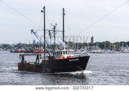 New Bedford, Massachusetts, Usa - September 1, 2019: Commercial Fishing Boat Settler, Hailing Port M