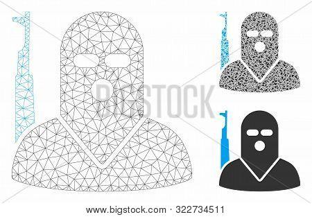 Mesh Terrorist Model With Triangle Mosaic Icon. Wire Frame Triangular Mesh Of Terrorist. Vector Coll