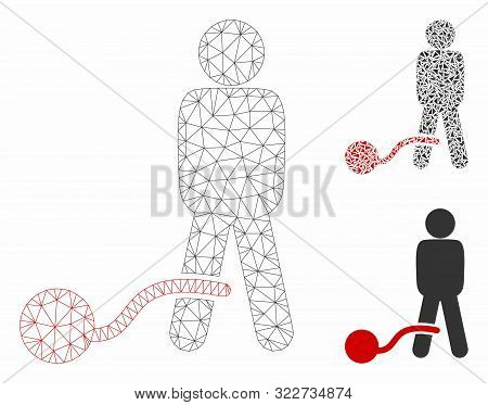 Mesh Guilty Man Model With Triangle Mosaic Icon. Wire Carcass Triangular Mesh Of Guilty Man. Vector
