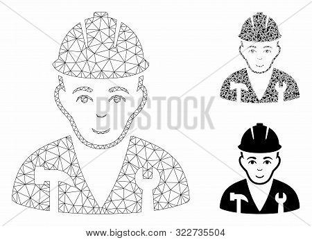 Mesh Serviceman Model With Triangle Mosaic Icon. Wire Frame Polygonal Mesh Of Serviceman. Vector Col
