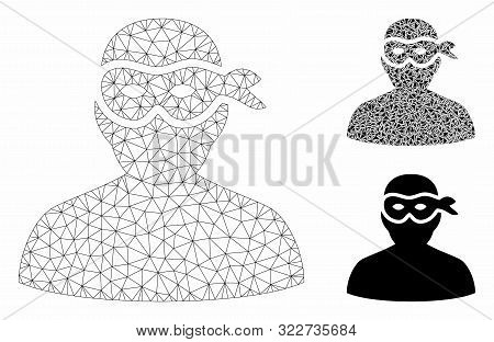 Mesh Masked Thief Model With Triangle Mosaic Icon. Wire Carcass Polygonal Mesh Of Masked Thief. Vect