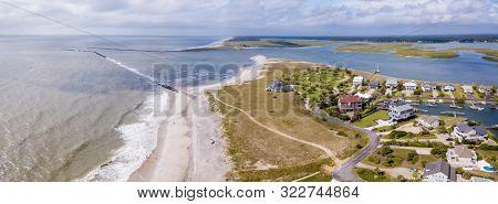 Aerial panorama of the Surfside Beach area of the South Carolina coast near Myrtle Beach.
