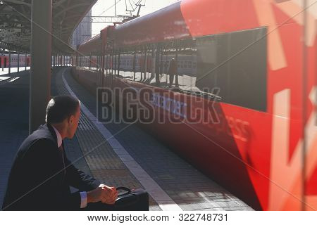 Moscow, Russia - Sep 18, 2019: Businessman Waiting For The Aeroexpress Train To Going To Airport Sta