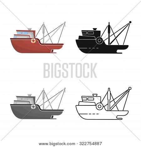 Vector Design Of Ship And Travel Sign. Collection Of Ship And Naval Stock Symbol For Web.