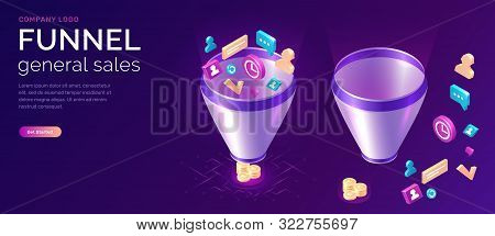 Sales Funnel, Isometric Concept Vector Illustration. Marketing Funnel With Data Drawn Into It For An