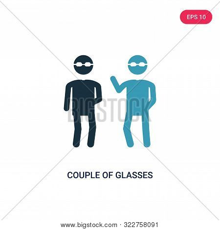 Couple Of Glasses Icon In Two Color Design Style. Couple Of Glasses Vector Icon Modern And Trendy Fl
