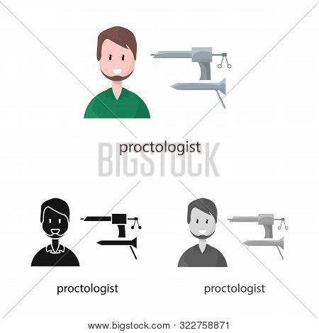 Vector Design Of Proctologist And Diagnosis Sign. Set Of Proctologist And Practitioner Stock Vector
