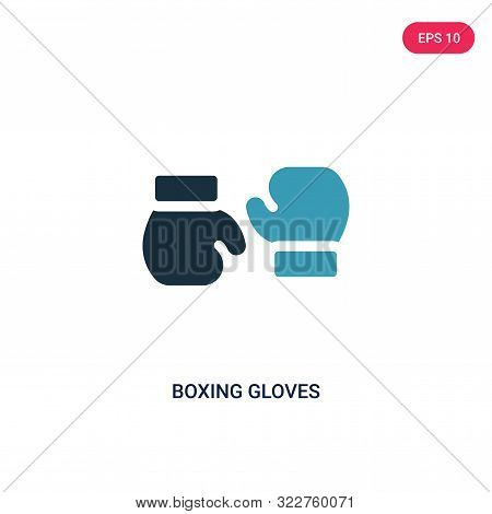 boxing gloves icon in two color design style. boxing gloves vector icon modern and trendy flat symbol for web site, mobile, app, logo, UI. boxing gloves colorful isolated icon on white background. boxing gloves icon simple vector illustration,