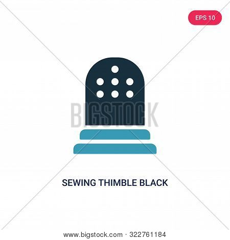 sewing thimble black variant icon in two color design style.