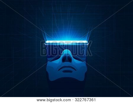 Concept Of Virtual Reality Technology, Man Wearing Vr Headset With Futuristic Element