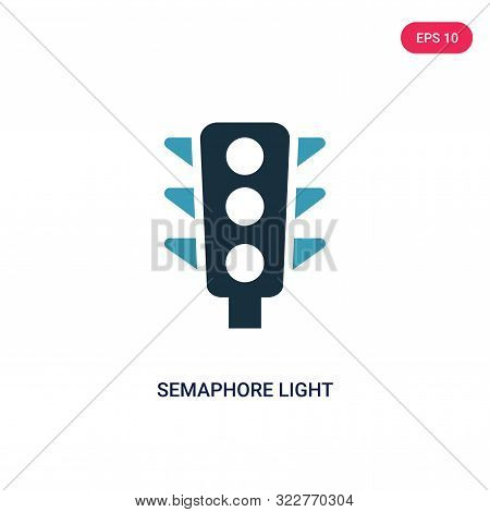 semaphore light icon in two color design style.