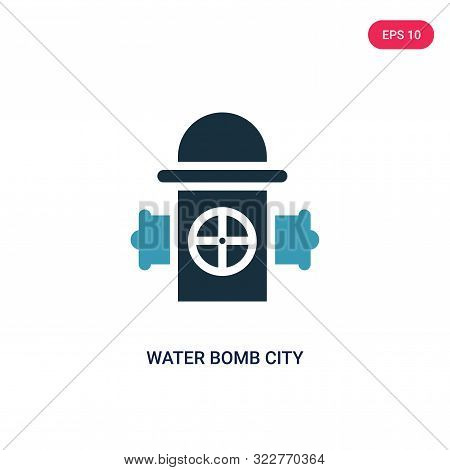 water bomb city supplier icon in two color design style.