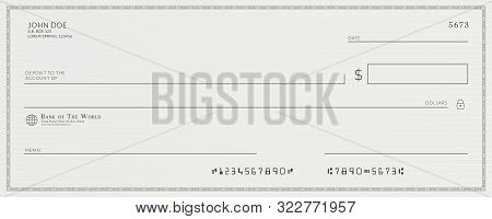 Blank template of the fake bank check poster