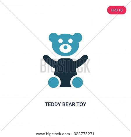 teddy bear toy icon in two color design style.