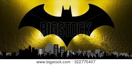 Bologna / Italy - September 18, 2019: The Bat Signal Light From The Gotham Cityscape To Celebrate Th