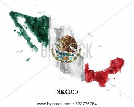Mexico Flag Watercolor Painting Design And Country Map Shape With Splatter Color . Isolated Backgrou