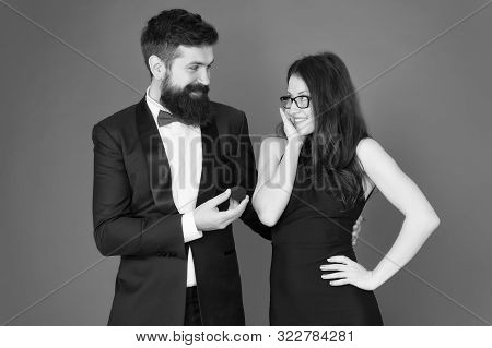 Relationship. Love Relationship. Surprise. Bearded Man Make Woman Marriage Proposal. Tuxedo Man And