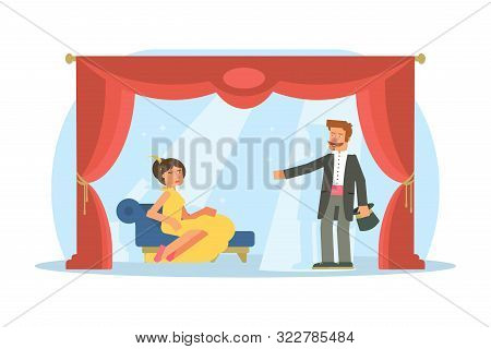 Theater, Opera Performance Flat Illustration. Actor And Actress Vector Characters Playing On Stage.