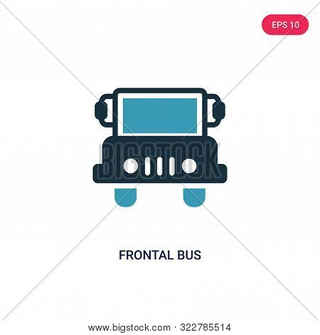 frontal bus icon in two color design style.