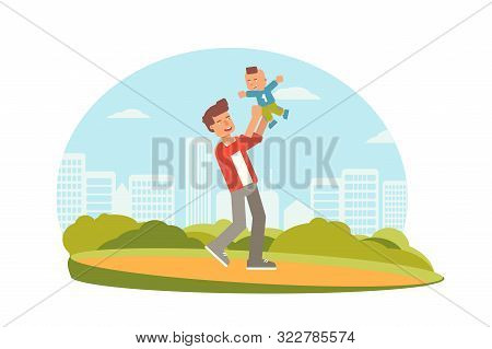 Dad playing with son flat characters. Parenting, fatherhood vector illustration. Parents and kids leisure activities, pastime. Young father with child having fun in park isolated clipart. Family time poster