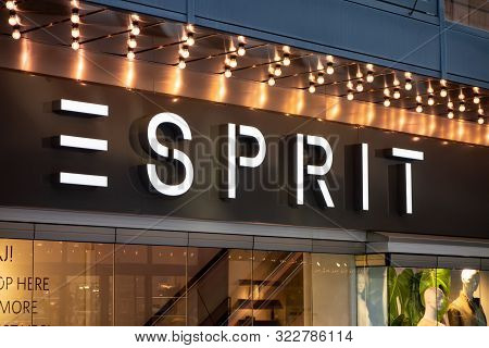 Stockholm, Sweden - April 20, 2019: The Signage Of The Fashion Company Esprit Above An Entrance To O