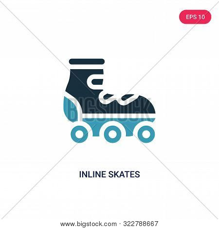 inline skates icon in two color design style.