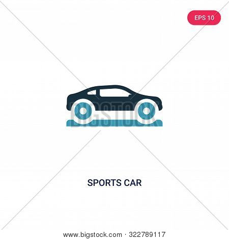 sports car icon in two color design style.