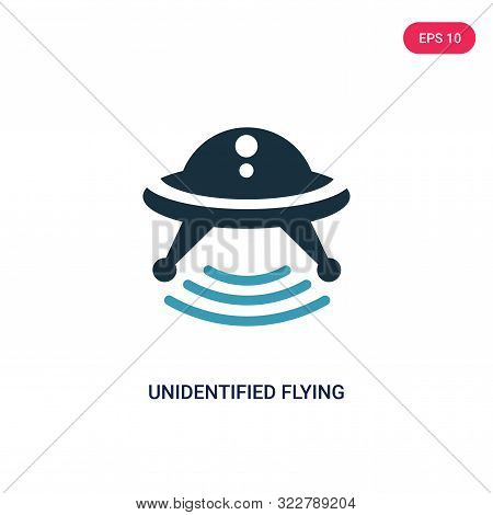 unidentified flying object icon in two color design style.